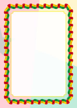 Cornice e bordo del nastro con bandiera della Guinea-Bissau, elementi del modello per il certificato e il diploma. Vettore.