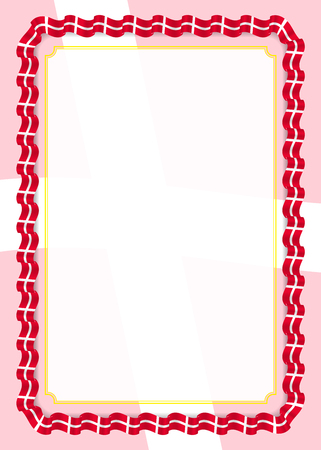 Frame and border of ribbon with Denmark flag, template elements for your certificate and diploma. Vector.