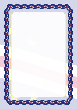Frame and border of ribbon with Cape Verde flag, template elements for your certificate and diploma. Vector.