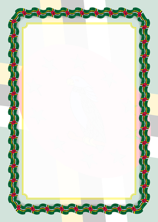 Frame and border of ribbon with Dominica flag, template elements for your certificate and diploma. Vector.