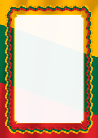 Frame and border of ribbon with Lithuania flag, template elements for your certificate and diploma. Vector