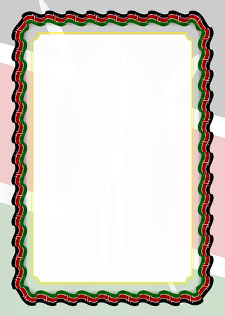 Cornice e bordo del nastro con bandiera del Kenya, elementi del modello per il certificato e il diploma. Vettore