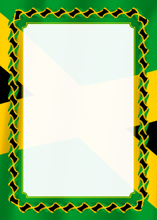 Frame and border of ribbon with Jamaica flag, template elements for your certificate and diploma. Vector Vettoriali