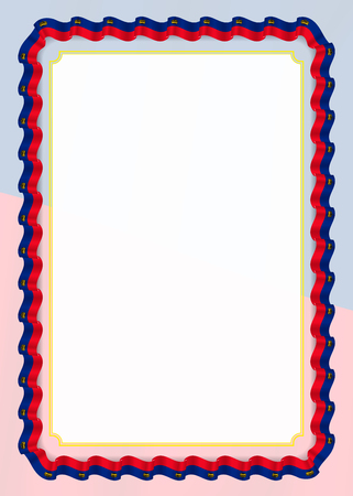 Frame and border of ribbon with Liechtenstein flag, template elements for your certificate and diploma. Vector