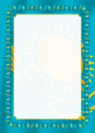Frame and border of ribbon with Kazakhstan flag, template elements for your certificate and diploma. Vector Illustration