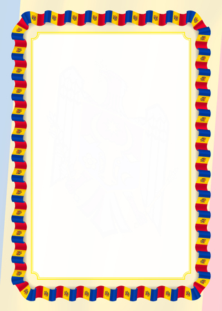 Frame and border of ribbon with Moldova flag, template elements for your certificate and diploma. Vector. 矢量图像