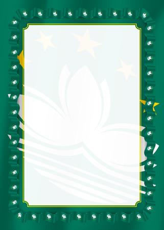 Marco y borde de cinta con la bandera de Macao, elementos de la plantilla de tu certificado y diploma. Vector.
