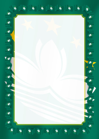 Frame and border of ribbon with Macau flag, template elements for your certificate and diploma. Vector.