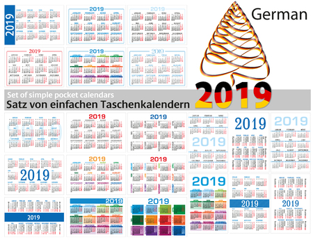 Set of simple calendars in German on 2019 Two thousand nineteen . Week starts Monday.