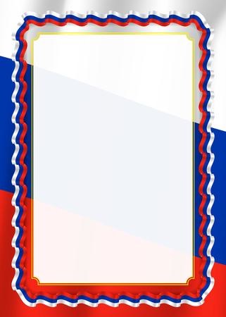 Frame and border of ribbon with Russia flag, template elements for your certificate and diploma. Vector. Vetores