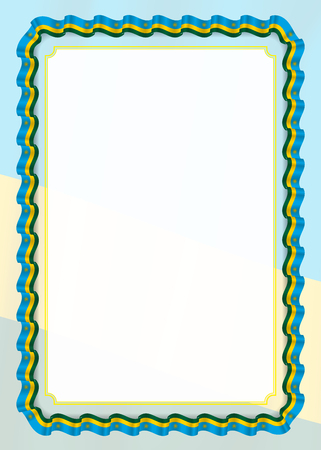 Frame and border of ribbon with Rwanda flag, template elements for your certificate and diploma. Vector.