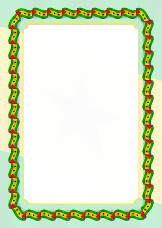 Frame and border of ribbon with Sao Tome and Principe flag, template elements for your certificate and diploma. Vector. Ilustração Vetorial
