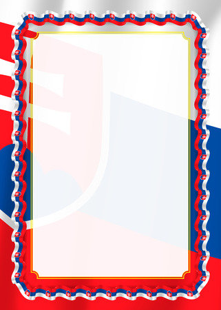 Frame and border of ribbon with Slovakia flag, template elements for your certificate and diploma. Vector. 矢量图像