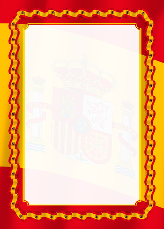 Frame and border of ribbon with Spain flag, template elements for your certificate and diploma. Vector.