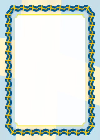 Frame and border of ribbon with Sweden flag, template elements for your certificate and diploma. Vector.