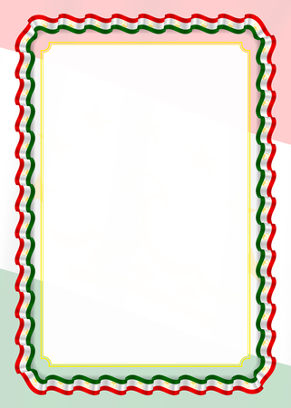 Frame and border of ribbon with Tajikistan flag, template elements for your certificate and diploma. Vector.