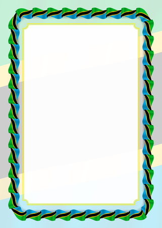 Frame and border of ribbon with Tanzania flag, template elements for your certificate and diploma. Vector.