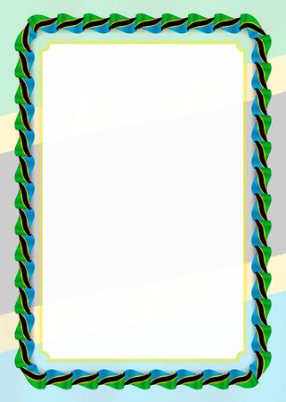 Rahmen und Rand des Bandes mit Tansania-Flagge, Vorlagenelemente für Ihr Zertifikat und Diplom. Vektor. Vektorgrafik