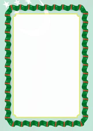 Marco y borde de cinta con la bandera de Turkmenistán, elementos de la plantilla de tu certificado y diploma. Vector.