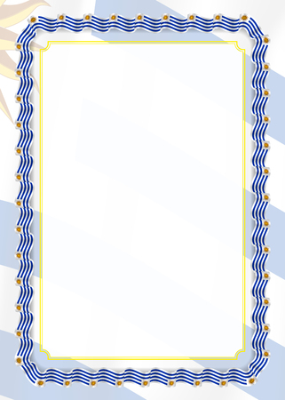 Frame and border of ribbon with Uruguay flag, template elements for your certificate and diploma. Vector. Vetores