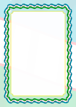 Frame and border of ribbon with Uzbekistan flag, template elements for your certificate and diploma. Vector.
