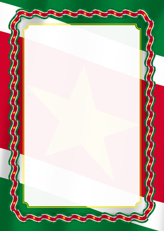 Frame and border of ribbon with Suriname flag, template elements for your certificate and diploma. Vector.