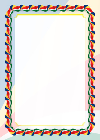 Frame and border of ribbon with Seychelles flag, template elements for your certificate and diploma. Vector.