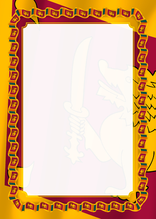 Frame and border of ribbon with Sri Lanka flag, template elements for your certificate and diploma. Vector.