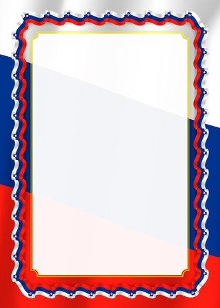 Frame and border of ribbon with Slovenia flag, template elements for your certificate and diploma. Vector.