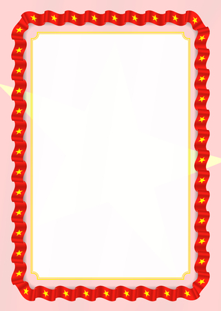 Frame and border of ribbon with Vietnam flag, template elements for your certificate and diploma. Vector.