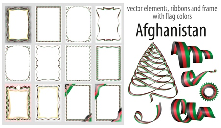vector elements, ribbons and frames with flag colors Afghanistan, template for your certificate and diploma.