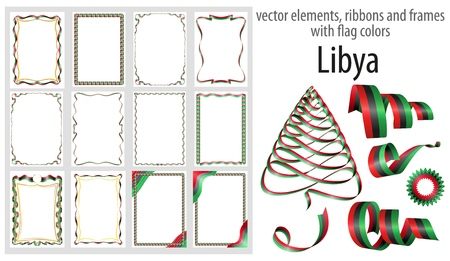 vector elements, ribbons and frames with flag colors Libya, template for your certificate and diploma.