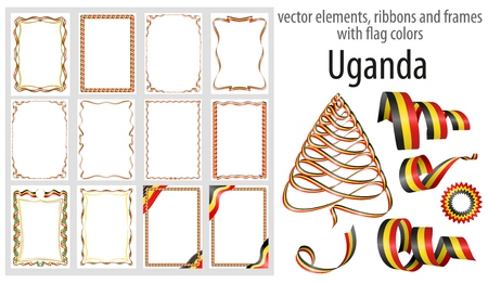 vector elements, ribbons and frames with flag colors Uganda, template for your certificate and diploma.