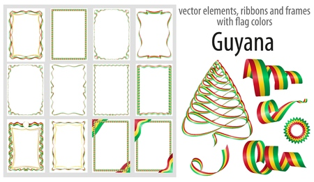 vector elements, ribbons and frames with flag colors Guyana, template for your certificate and diploma.