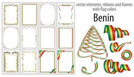 elementos vectoriales, cintas y marcos con colores de la bandera de Benin, plantilla para tu certificado y diploma.