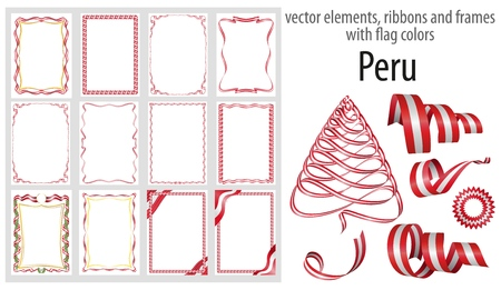 vector elements, ribbons and frames with flag colors Peru, template for your certificate and diploma.