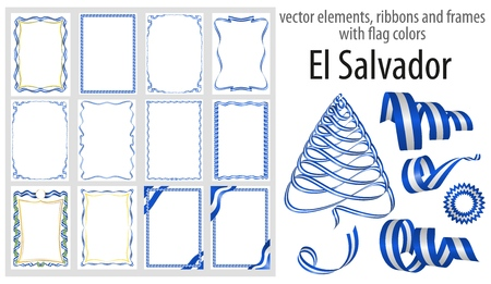 vector elements, ribbons and frames with flag colors El Salvador, template for your certificate and diploma. Ilustração