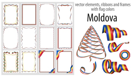 vector elements, ribbons and frames with flag colors Moldova, template for your certificate and diploma.