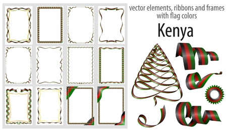 vector elements, ribbons and frames with flag colors Kenya, template for your certificate and diploma.