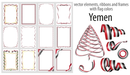 vector elements, ribbons and frames with flag colors Yemen, template for your certificate and diploma.