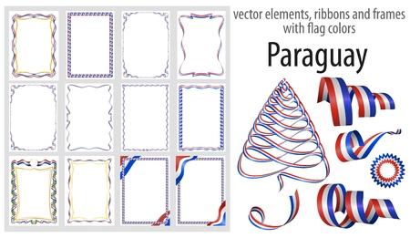 éléments vectoriels, rubans et cadres aux couleurs du drapeau Paraguay, modèle pour votre certificat et diplôme. Vecteurs