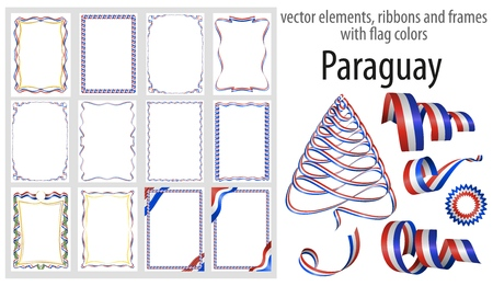 vector elements, ribbons and frames with flag colors Paraguay, template for your certificate and diploma.