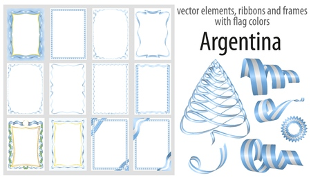 vector elements, ribbons and frames with flag colors Argentina, template for your certificate and diploma.