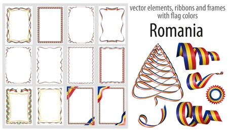 vector elements, ribbons and frames with flag colors Romania, template for your certificate and diploma.