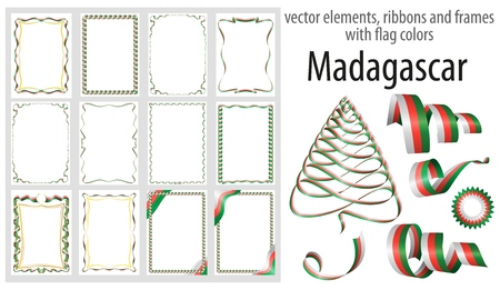 vector elements, ribbons and frames with flag colors Madagascar, template for your certificate and diploma.