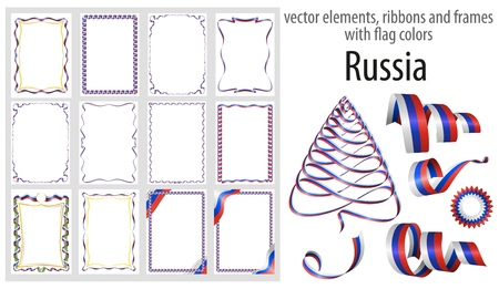 vector elements, ribbons and frames with flag colors Russia, template for your certificate and diploma.