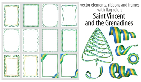 vector elements, ribbons and frames with flag colors Saint Vincent and the Grenadines, template for your certificate and diploma.
