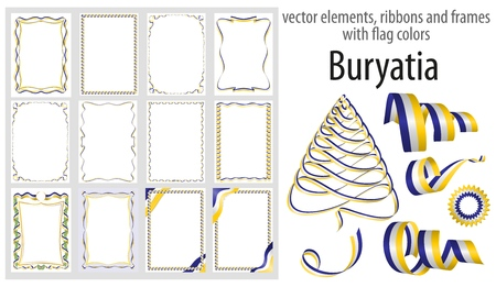 vector elements, ribbons and frames with flag colors Buryatia, template for your certificate and diploma.