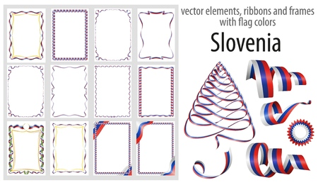 vector elements, ribbons and frames with flag colors Slovenia, template for your certificate and diploma.