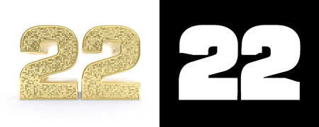 Golden number twenty two (number 22) on white background with drop shadow and alpha channel. 3D illustration.